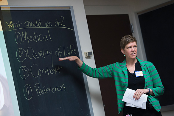 Professor Renee Boss teaching a graduate course