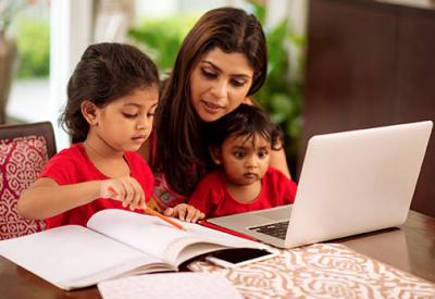 A parent holds virtual schools
